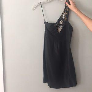 Tibi one shoulder mini black dress